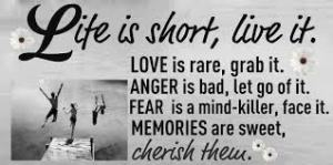 life is short live it cherish love anger fear memories